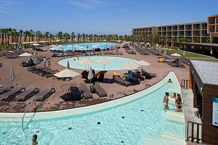 View across pools at Vidamar Algarve Portugal