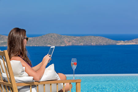 View from Superior Suite private pool at Elounda Gulf Villas and Suites Crete