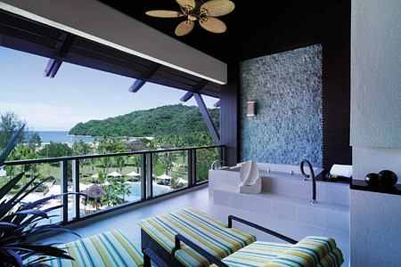 View from balcony at Shangri la Rasa Ria Borneo Malaysia