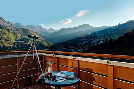 View from balcony at Tschuggen Grand Arosa Switzerland