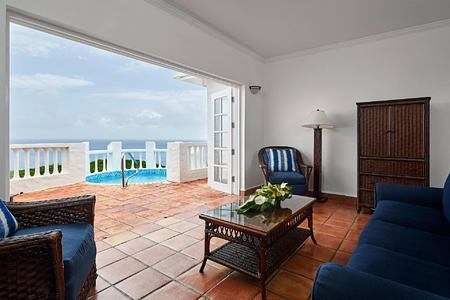 View from villa across sea at Windjammer Landing St Lucia