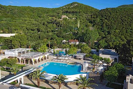 View over general pools at Marbella Corfu Greece