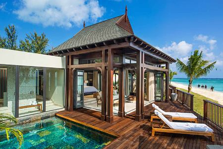 Villa Bedroom with view from terrace at St Regis Mauritius