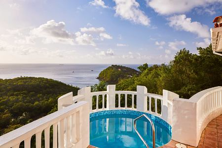 Villa pool and view at Windjammer Landing St Lucia