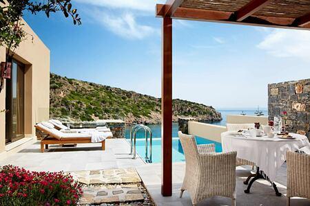 Villa terrace and pool at Daios Cove Crete Greece