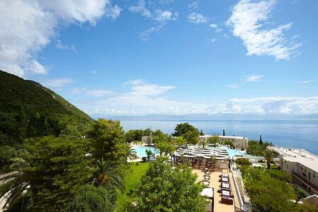 aerial view of La Terrazza restaurant at Marbella Corfu Greece