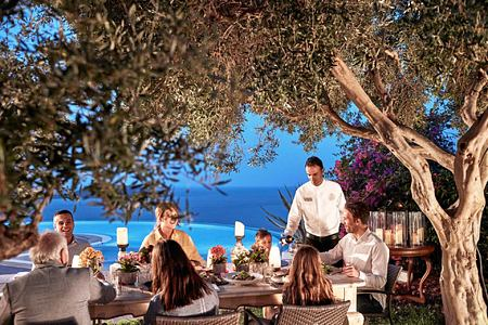 eating outside at Argo Restaurant at Elounda Gulf Villas and Suites Crete