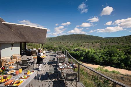 lunch on deck overlooking the veld at Great Fish River Lodge South Africa