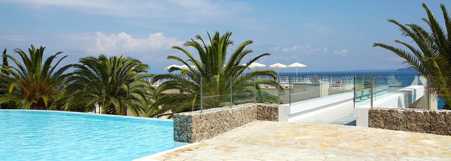 pool and sea at Marbella Corfu Greece