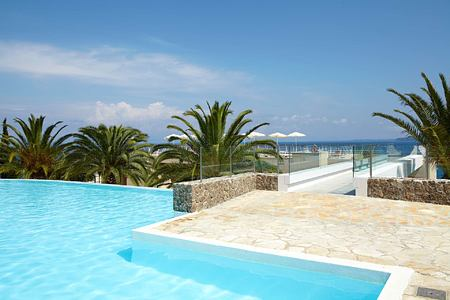 pool and sea at Marbella Corfu Greece