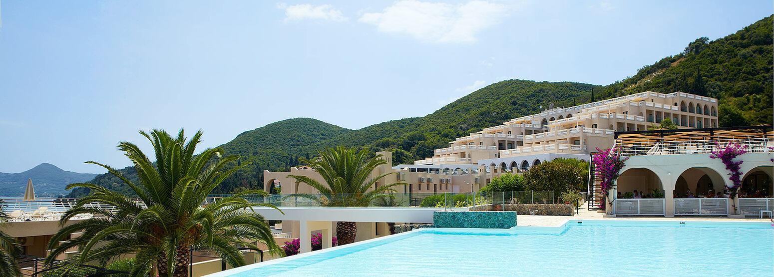 pool and view at Marbella Corfu Greece