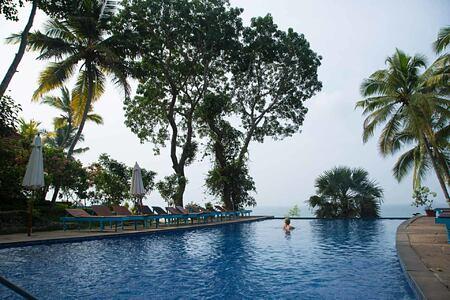 swimming in the pool at Somatheeram Kerala India