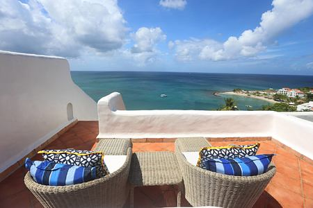 terrace with seaview at Windjammer Landing St Lucia