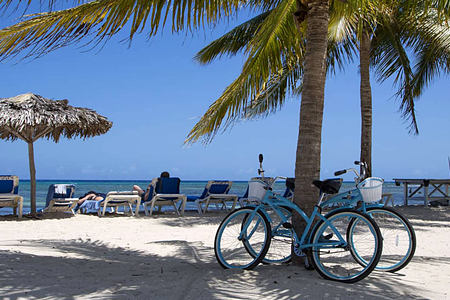 Bikes on the beach at Half Moon Jamaica