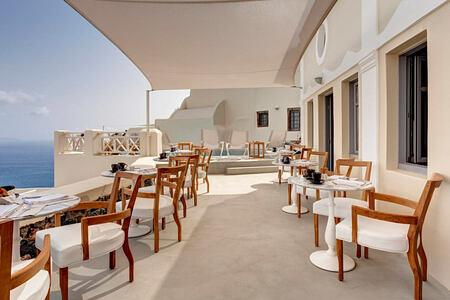 Captains Lounge Breakfast Terrace at Mystique Santorini Greece