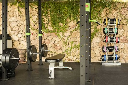 Fitness with weights at F Zeen Kefalonia Greece