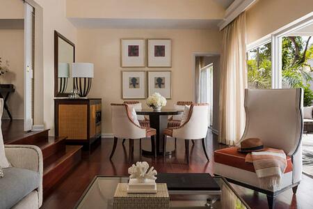 Garden Cottage living room at Four Seasons Ocean Club Bahamas