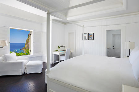 Grand luxury villa bedroom at Sugar Beach St Lucia