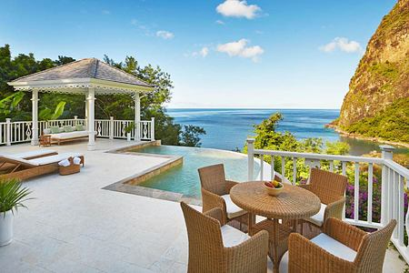 Grand luxury villa terrace at Sugar Beach St Lucia