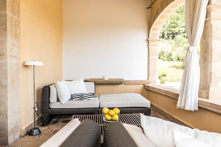 Living area Double Deluxe with terrace at Son Brull Majorca Spain