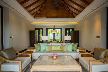 Living area in Ocean Front Pool Villa at Trisara Phuket Thailand