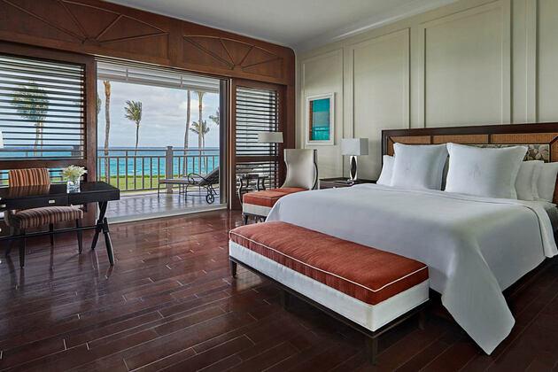 Luxury beachfront room at Four Seasons Ocean Club Bahamas
