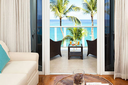 Oceanview room living area at Waves Hotel and Spa Barbados