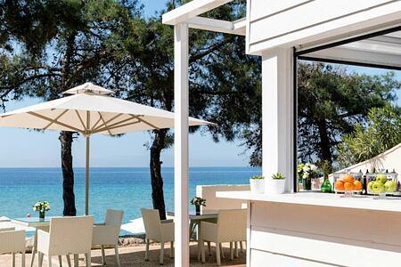 Outside terrace at Ikos Oceania Greece