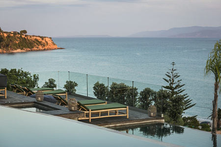 Pool and deck with sea views at F Zeen Kefalonia Greece