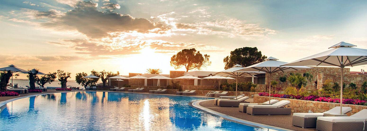 Sunset at Pool area at Ikos Olivia Greece