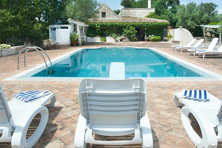 Pool view at Trulli Volpe Italy