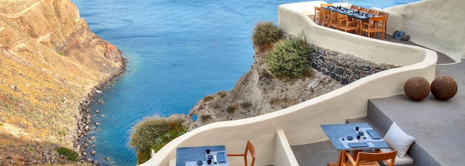 Sea view from ASEA Restaurant at Mystique Santorini Greece