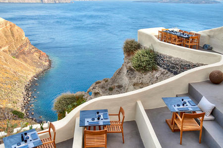 Sea view from ASEA Restaurant at Mystique Santorini Greece