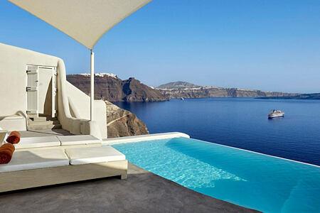 Secrecy Villa private pool at Mystique Santorini Greece
