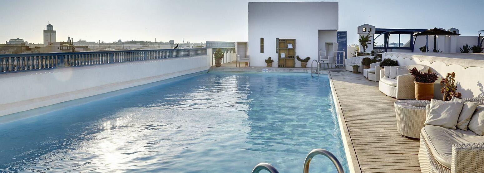 Skyline and pool at Heure Bleue Palais Morocco