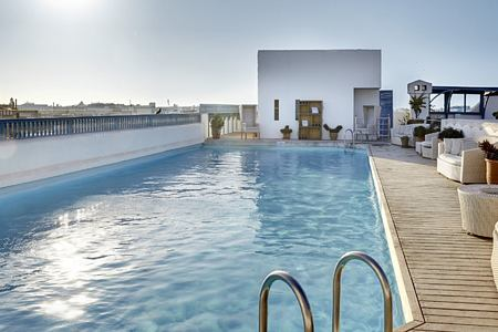 Skyline and pool at Heure Bleue Palais Morocco