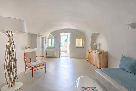 Spiritual Villa suite living area at Mystique Santorini Greece