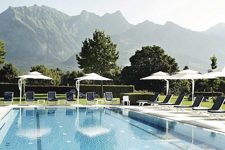 Thermal Spa Garden pool at Bad Ragaz Switzerland