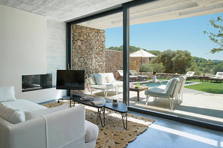 Villa Suite overlooking terrace at Son Brull Majorca Spain