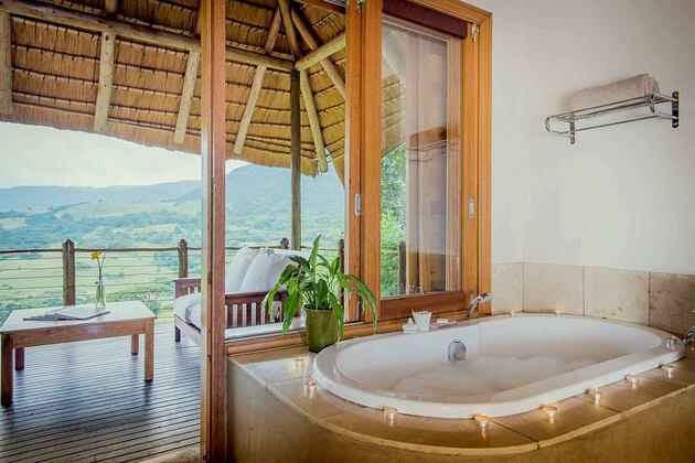 Villa bathroom and view at Karkloof Safari Spa KZN South Africa