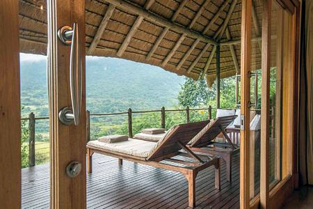 Villa deck with panoramic view at Karkloof Safari Spa KZN South Africa