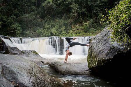 Yoga outdoors at Karkloof Safari Spa KZN South Africa