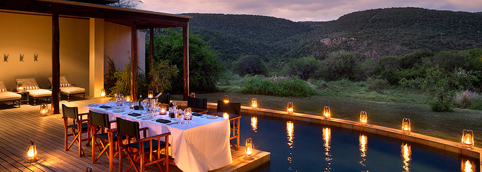 Pool at night Melton Manor at Kwandwe Lodge South Afric