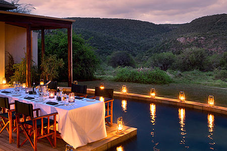 Pool at night Melton Manor at Kwandwe Lodge South Afric