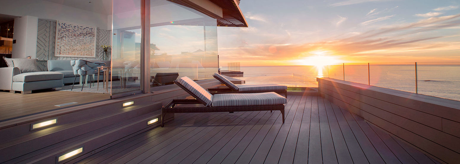 Bantry Bay sunset across deck view