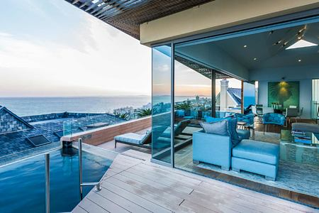 Bantry Bay terrace and view of pool