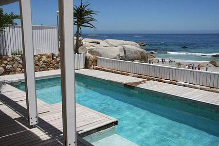 Glen Beach Villa pool and view across the sea