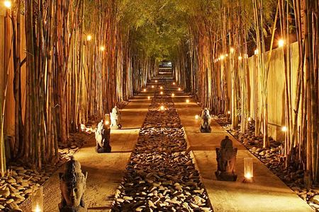 Atmospheric walk between bamboos at one our best spa holidays for couples