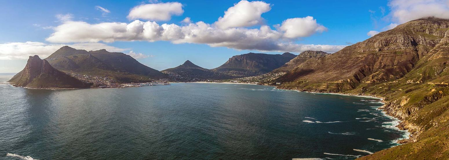 View across Hout Bay and Chapmans Peak for the Biking in Cape Town
