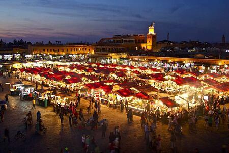Marrakech market at night